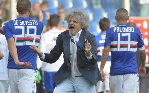 President of Uc Sampdoria Massimo Ferrero jubilates after the end of the Italian Serie A soccer match Sampdoria-Atalanta at the Luigi Ferraris stadium in Genoa, Italy, 05 october 2014. ANSA/ LUCA ZENNARO