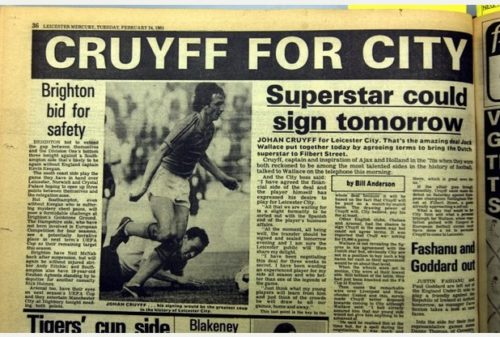 Digital D1 | 04 Aug 2003 | 133917-2 | Neil Medhurst | Sports Mercury | LCFC.Newspaper copies : Stories about Johann Cruyff joining Leicester City that appeared in the Leicester Mercury in February 1981.